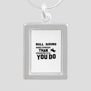 Bull Riding More Awesome Silver Portrait Necklace