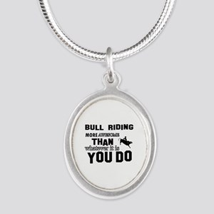 Bull Riding More Awesome Than Silver Oval Necklace