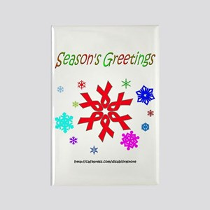 Red Ribbon Snowflake Rectangle Magnet