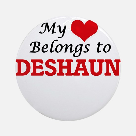 My heart belongs to Deshaun Round Ornament