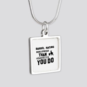 Barrel Racing More Awesome Silver Square Necklace
