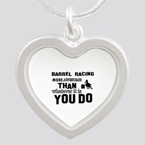 Barrel Racing More Awesome T Silver Heart Necklace