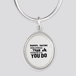 Barrel Racing More Awesome Th Silver Oval Necklace