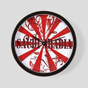 Red Saudi Arabia Wall Clock