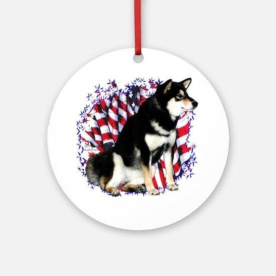 Shiba(blk) Patriot Ornament (Round)