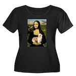 Mona/Puff Women's Plus Size Scoop Neck Dark T-Shir