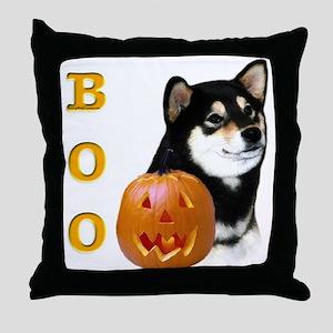 Shiba(blk) Boo Throw Pillow