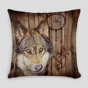 native dream catcher wolf Everyday Pillow