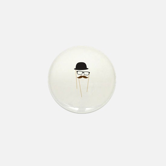 Mustache Glasses Hat Mini Button
