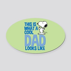Snoopy - This Is What A Cool Dad L Oval Car Magnet