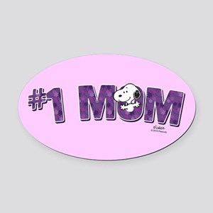 Snoopy - #1 Mom Full Bleed Oval Car Magnet