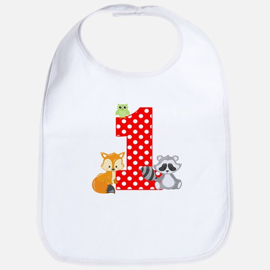 1st Birthday Woodland Bib