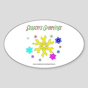 Yellow Ribbon Snowflake Oval Sticker