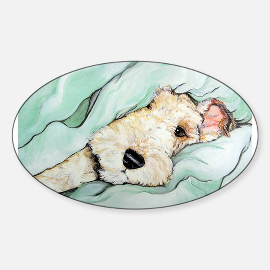 Napping Wire Fox Terrier Sticker (Oval)