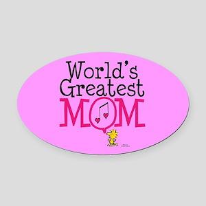 Woodstock - World's Greatest Mom F Oval Car Magnet
