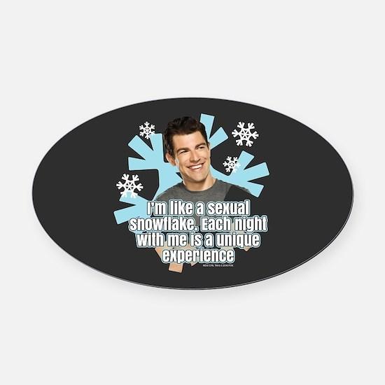 New Girl Schmidt Snowflake Oval Car Magnet