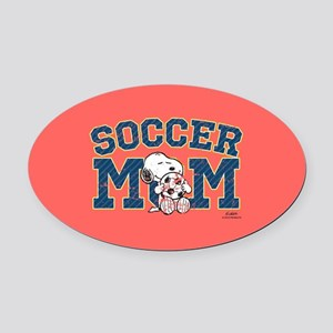 Snoopy Soccer Mom Full Bleed Oval Car Magnet