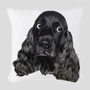 Cute Black Cocker Spaniel Portrait Print Woven Thr