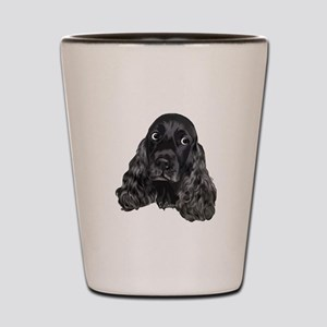 Cute Black Cocker Spaniel Portrait Print Shot Glas