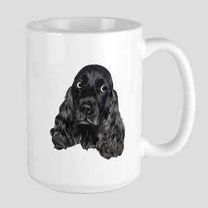 Cute Black Cocker Spaniel Portrait Print Mugs