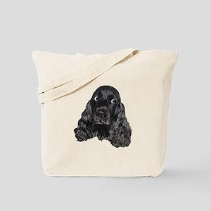 Cute Black Cocker Spaniel Portrait Print Tote Bag