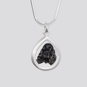 Cute Black Cocker Spaniel Portrait Print Necklaces