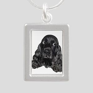 Cute Black Cocker Spaniel Portrait Print Necklaces