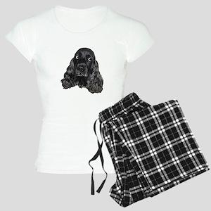 Cute Black Cocker Spaniel Portrait Print Pajamas