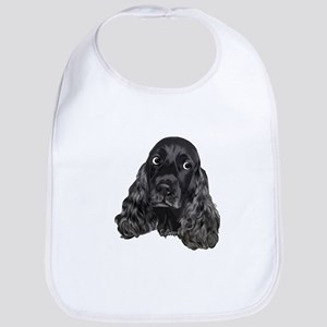 Cute Black Cocker Spaniel Portrait Print Bib