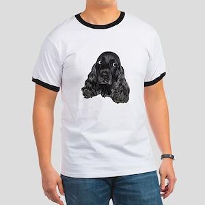 Cute Black Cocker Spaniel Portrait Print T-Shirt