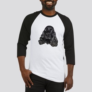 Cute Black Cocker Spaniel Portrait Print Baseball