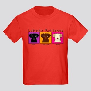 Three Labradors Bright Kids Dark T-Shirt