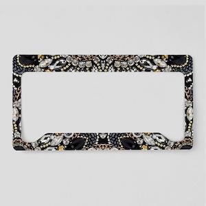 art nouveau black rhinestone License Plate Holder