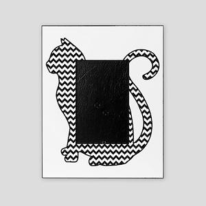 Black and White Chevron Cat Silhouette Picture Fra