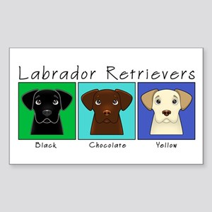 Three Labradors Cool Rectangle Sticker