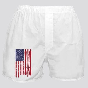 US flag with skis and ski poles as st Boxer Shorts