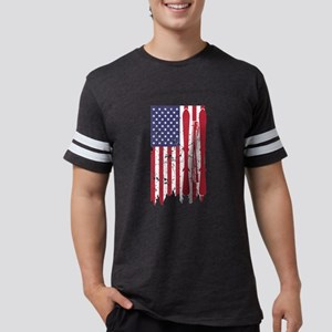 US flag with skis and ski poles as stripes T-Shirt