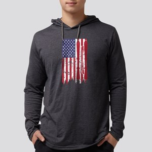 US flag with skis and ski pole Long Sleeve T-Shirt