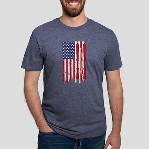 US flag with skis and ski poles as stripes T-Shirt