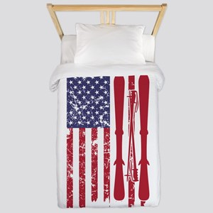 US flag with skis and ski poles a Twin Duvet Cover