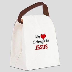My heart belongs to Jesus Canvas Lunch Bag