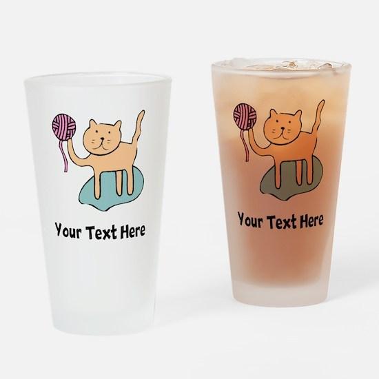 Cat With Ball Of Yarn (Custom) Drinking Glass