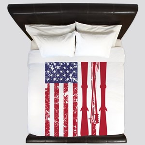 US flag with skis and ski poles as stri King Duvet