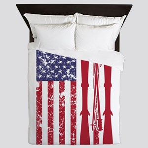 US flag with skis and ski poles as str Queen Duvet