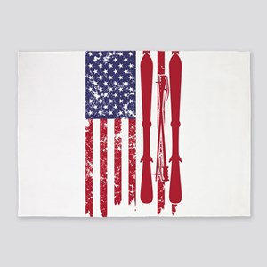 US flag with skis and ski poles as 5'x7'Area Rug