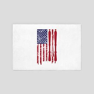 US flag with skis and ski poles as str 4' x 6' Rug
