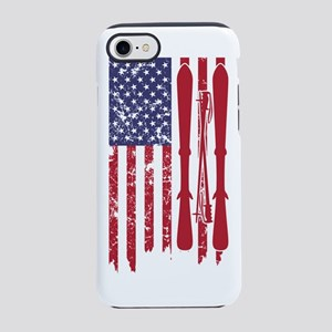 US flag with skis and ski po iPhone 8/7 Tough Case