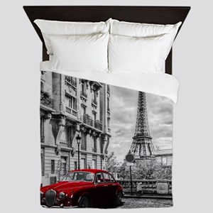Eiffel Tower Black and White Queen Duvet