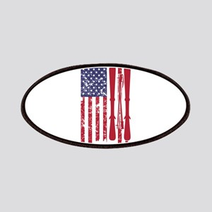 US flag with skis and ski poles as stripes Patch