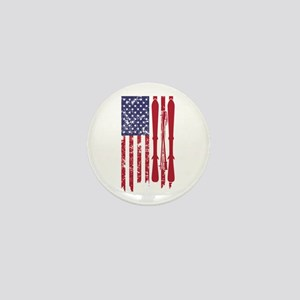 US flag with skis and ski poles as str Mini Button